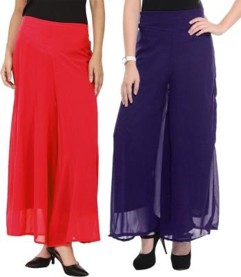 La Verite Regular Fit Women's Red, Blue Trousers