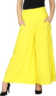 Ethnic Regular Fit Women's Yellow Trousers