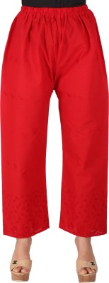 Ayesha Creations Regular Fit Women's Red Trousers