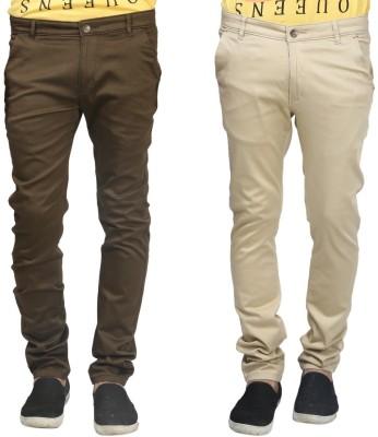 Trendy Trotters Regular Fit Men's Beige, Dark Green Trousers