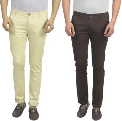 Masterly Weft Slim Fit Men's Cream, Brown Trousers
