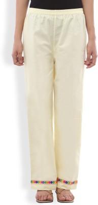 Ten on Ten Slim Fit Women's Yellow Trousers