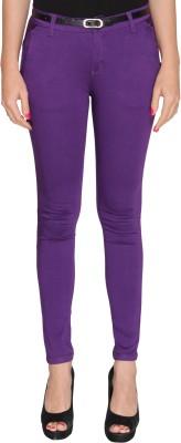 Bedazzle Slim Fit Women's Purple Trousers