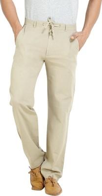 London Bee Regular Fit Men,s Linen Grey Trousers
