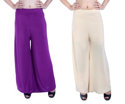 Ajaero Regular Fit Women's Purple, Gold Trousers