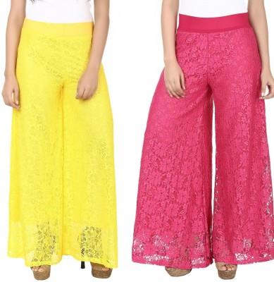 Guru Nanak Fashions Regular Fit Women's Yellow, Pink Trousers