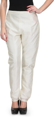 Just Wow Slim Fit Women's White Trousers