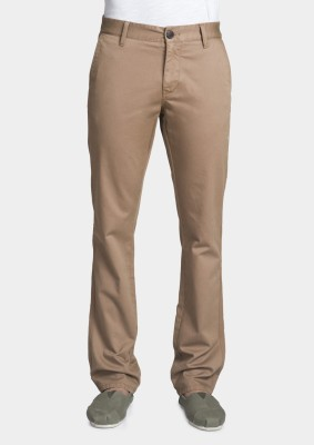 Bhane Slim Fit Men's Brown Trousers