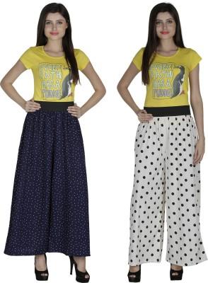 Shopingfever Regular Fit Women's Dark Blue, White Trousers