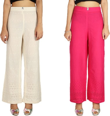 Quetzal Regular Fit Women's White, Red Trousers