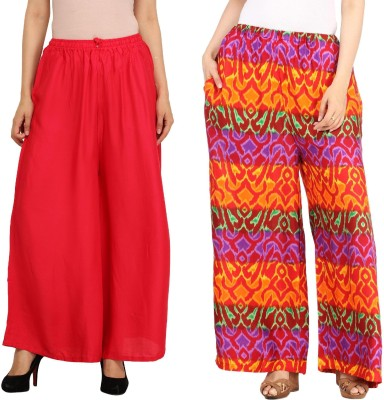 Guru Nanak Fashions Regular Fit Women's Red, Multicolor Trousers