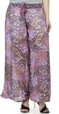 Lambency Regular Fit Women's Purple, White Trousers