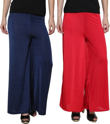 Both11 Regular Fit Women's Dark Blue, Red Trousers
