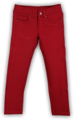 Lilliput Regular Fit Girl's Red Trousers