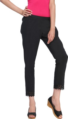 Delfe Slim Fit Women's Black Trousers