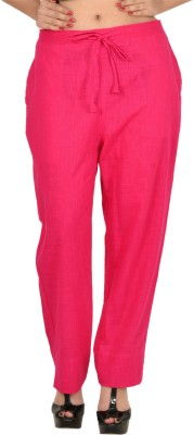 Zaributi Regular Fit Women's Pink Trousers at flipkart
