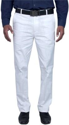 RICH PERK Regular Fit Men's Linen White Trousers