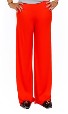 Lady in Red Regular Fit Women's Red Trousers