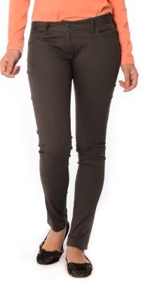 Oviya Skinny Fit Women's Brown Trousers