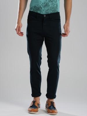 HRX by Hrithik Roshan Regular Fit Men's Dark Blue Trousers