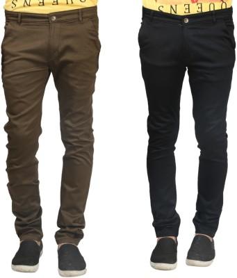 Trendy Trotters Regular Fit Men's Black, Dark Green Trousers