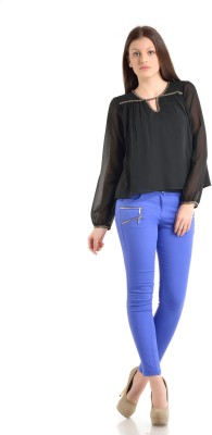 Kazo Slim Fit Women's Blue Trousers