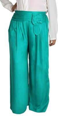 Shahfali Regular Fit Women's Linen Green Trousers