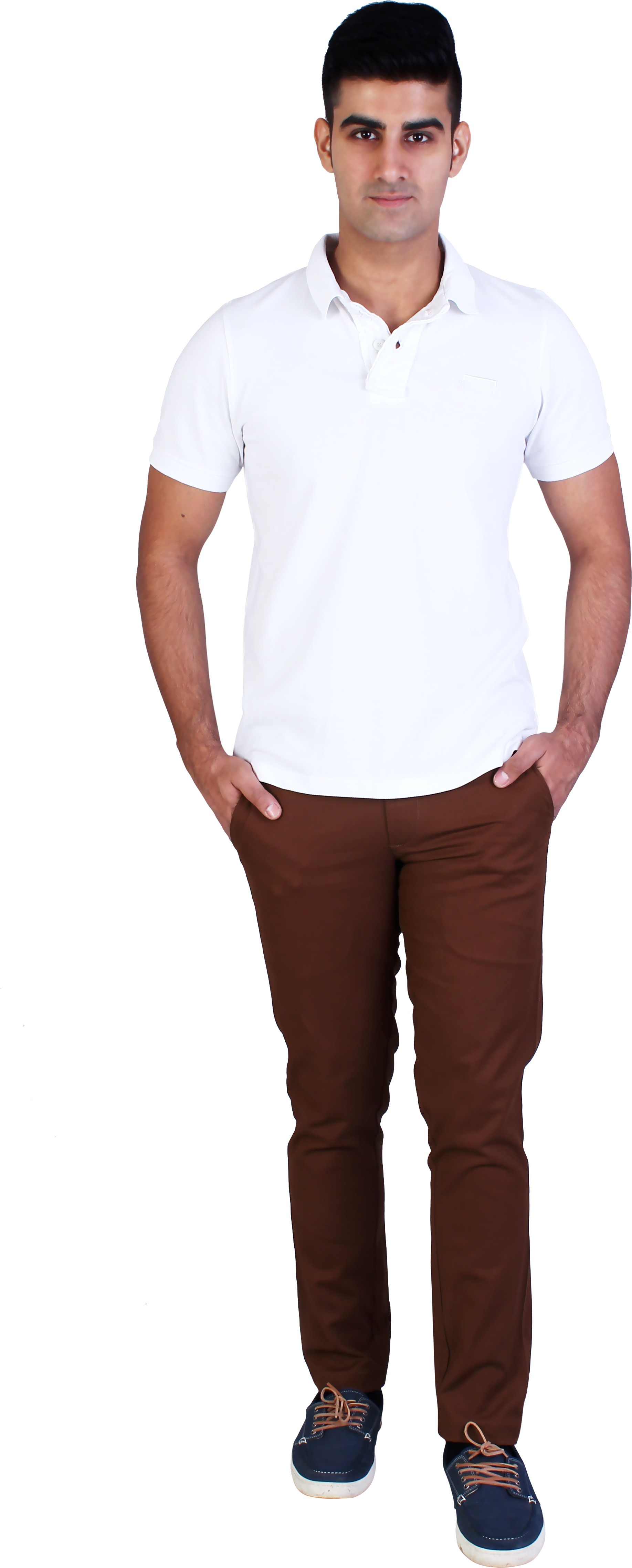 Bridge Slim Fit Men's Brown Trousers