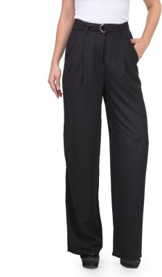 XnY Regular Fit Women's Black Trousers