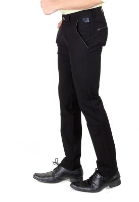 TRI-THE REAL INDIANS Slim Fit Men's Black Trousers