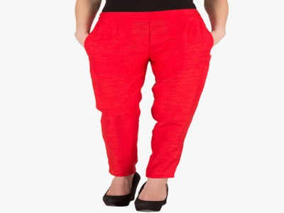 TNQ Slim Fit Women's Red Trousers