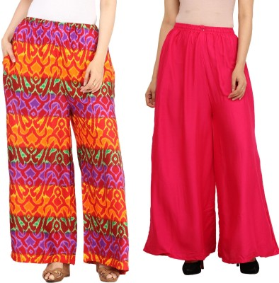 Guru Nanak Fashions Regular Fit Women's Multicolor, Pink Trousers