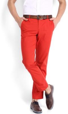 Fabindia Regular Fit Men's Red Trousers