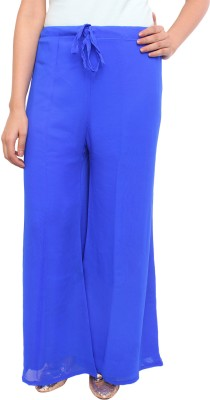 White Feather Regular Fit Women's Blue Trousers