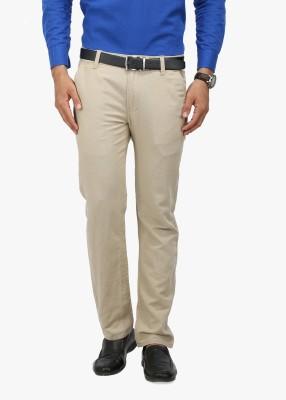 Wear Your Mind Slim Fit Men's Linen Beige Trousers