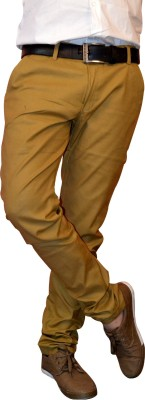 Front Look Slim Fit Men's Gold Trousers