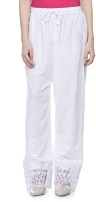 Sanchi Collection Regular Fit Women's White Trousers