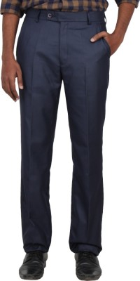 Warp & Weft Slim Fit Men's Dark Blue Trousers