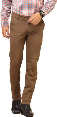 Cottinfab Regular Fit Men's Brown Trousers