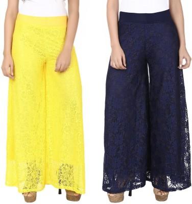 Guru Nanak Fashions Regular Fit Women's Yellow, Blue Trousers
