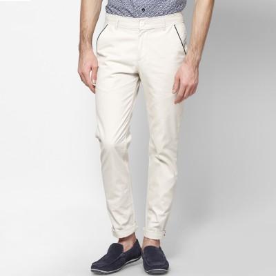 Haute Couture Slim Fit Men's White Trousers