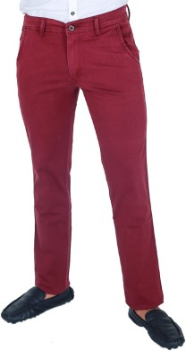 Monarch Regular Fit Men's Maroon Trousers