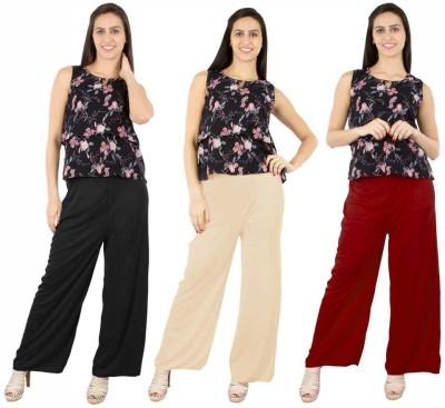 Fashion Flow+ Regular Fit Women's Black, Beige, Maroon Trousers