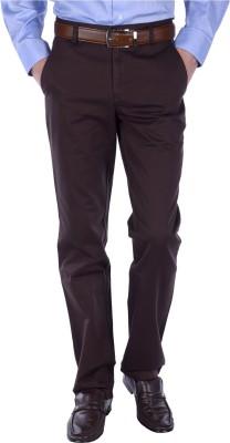 FRANK JEFFERSON Slim Fit Men's Brown Trousers