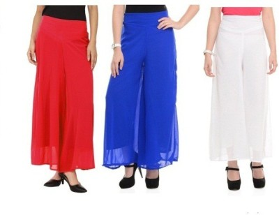 Edge Plus Regular Fit Women's White, Red, Blue Trousers