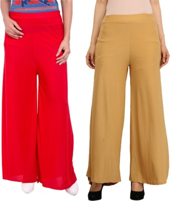 Komal Trading Co Regular Fit Women's Red, Cream Trousers