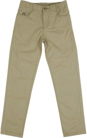 U S Polo Kids Slim Fit Boys Brown Trousers