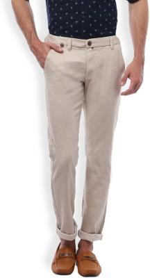 Vintage Slim Fit Men's Beige Trousers