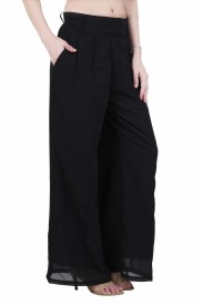 Indo Fab Regular Fit Women's Black Trousers