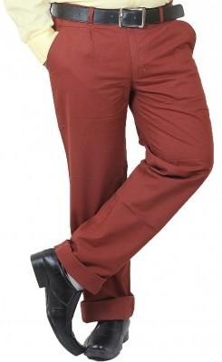 DMARK Slim Fit Men's Maroon Trousers